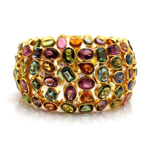 Multi Color Tourmaline And Diamond Bracelet in 18kt Yellow Gold