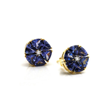 Tanzanite and Diamond Stud Earrings in 18k Yellow Gold