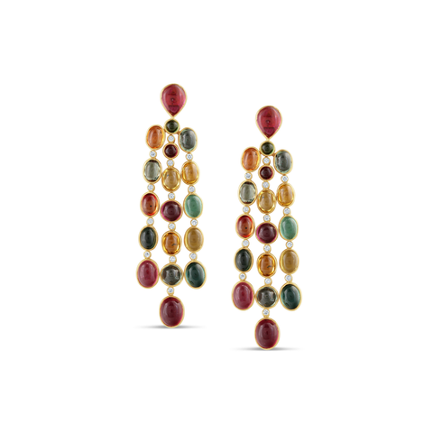 18K Yellow Gold Earring with Multicolor Tourmaline and Diamond