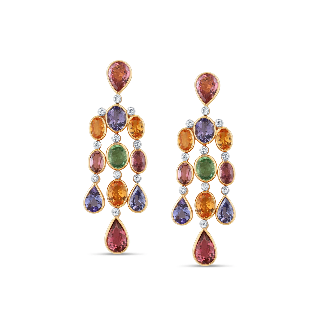 Multi Cut Tourmaline And Diamond Earring in 18kt Yellow Gold