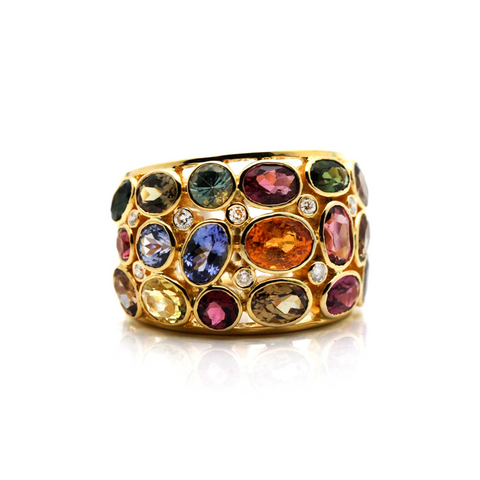 Mulicolor Tourmaline and Diamond Ring in 18k Yellow Gold