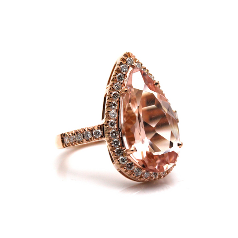 Morganite And Diamond Pear Faceted Ring in 18kt Rose Gold
