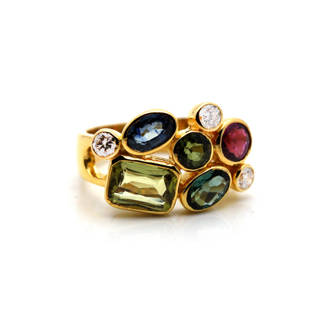 Multicolor Tourmaline, Tanzanite and Diamond Ring in 18k Yellow Gold
