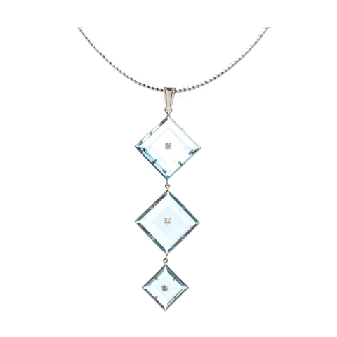 Sky Blue Topaz and Diamond Necklace in 18kt White Gold