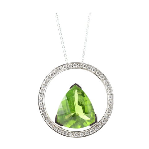Peridot and Diamond Pendant In 18K White Gold