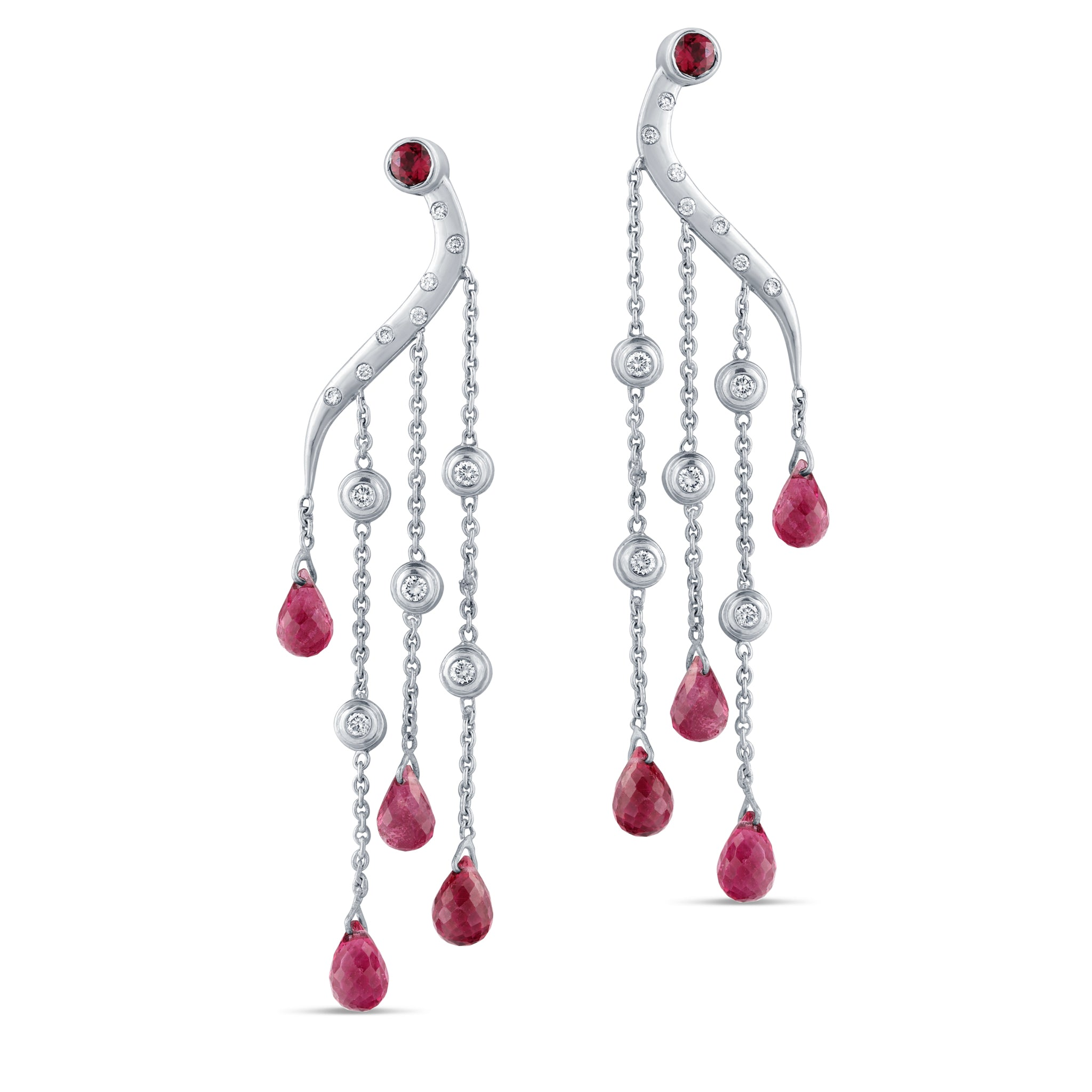 Pink Tourmaline and Diamond Briollett Earrings In 18K White Gold
