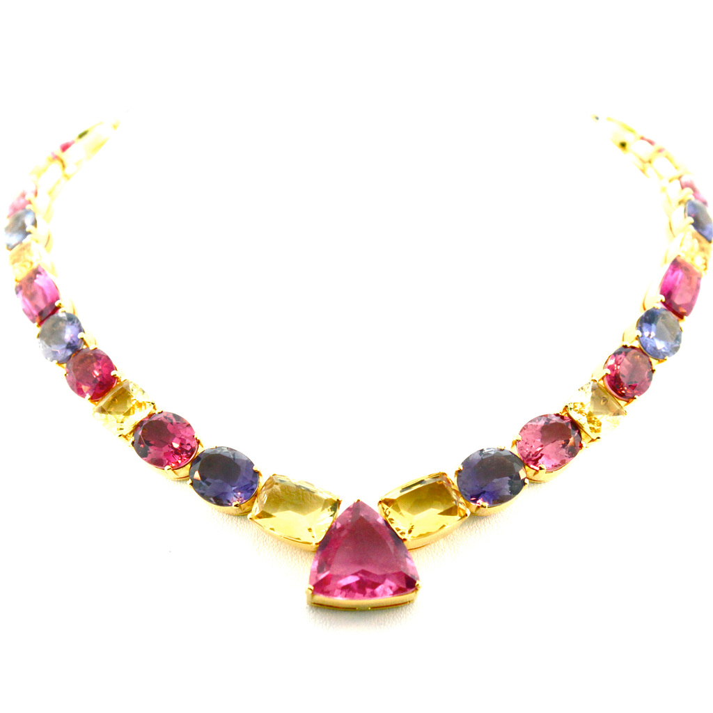 18K Yellow Gold Necklace with Multicolor Tourmaline, Yellow Beryl, Iolite & Tanzanite