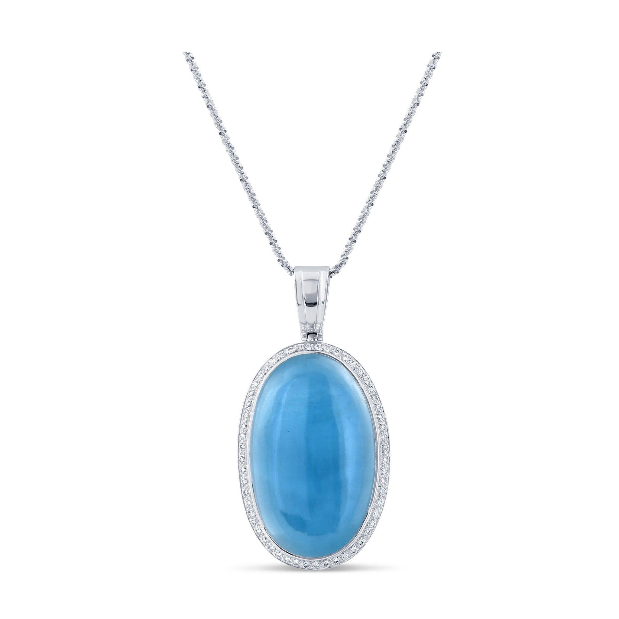 Aquamarine And Diamond Necklace in 18K White Gold