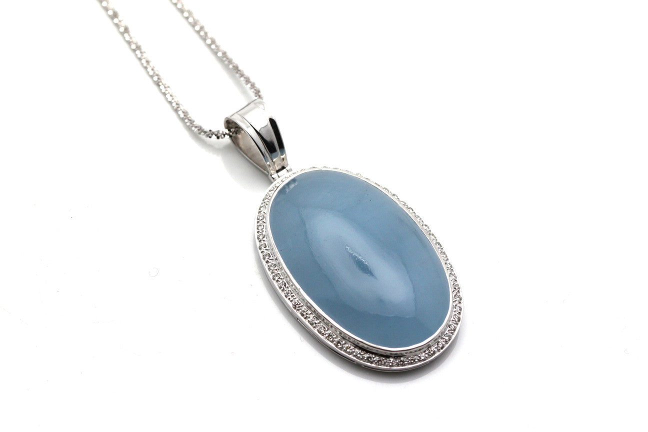 Aquamarine And Diamond Pendent in 18K White Gold