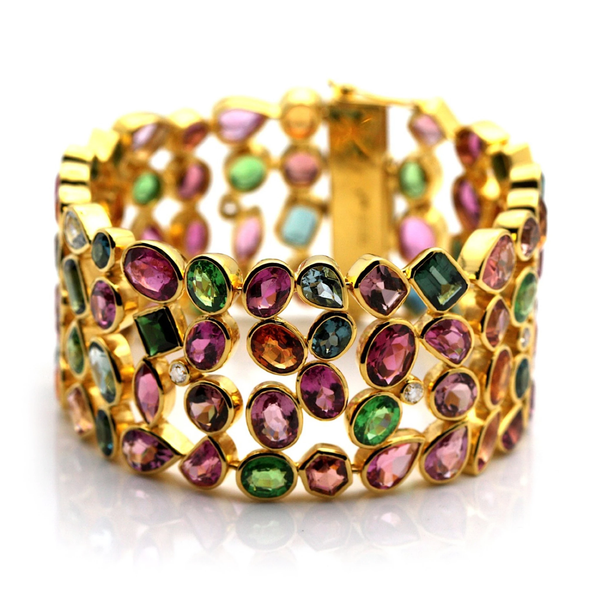 Multicolor Stones & Diamond Bracelet In 18K Yellow Gold