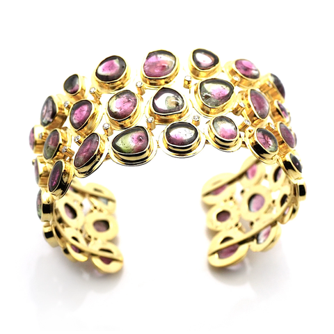 Watermelon Tourmaline & Diamond Cuff In 18K Yellow Gold