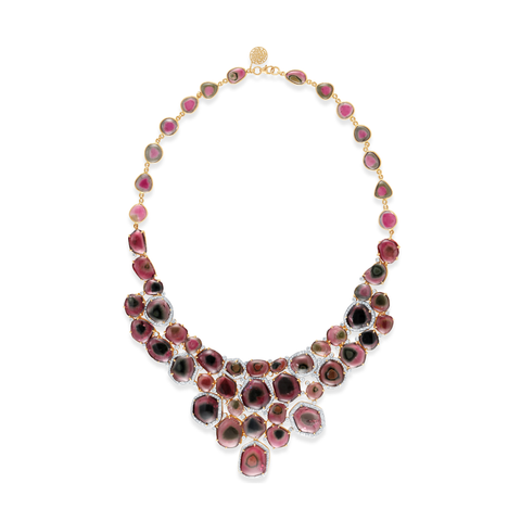 Bicolor Tourmaline And Diamond Necklace in 18kt Yellow Gold