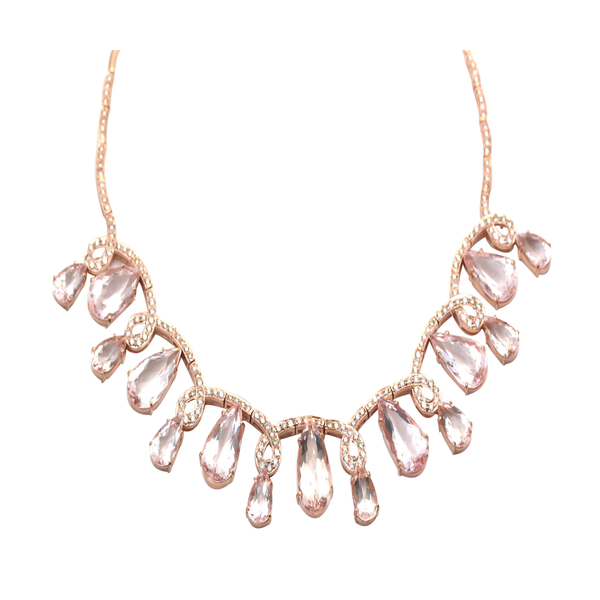 Moraganite And Diamond Necklace in 18kt Rose Gold