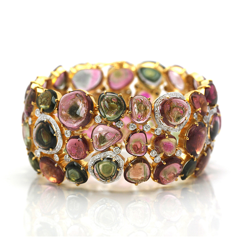 Bicolor Tourmaline and Diamond Bracelet with 18kt Yellow Gold