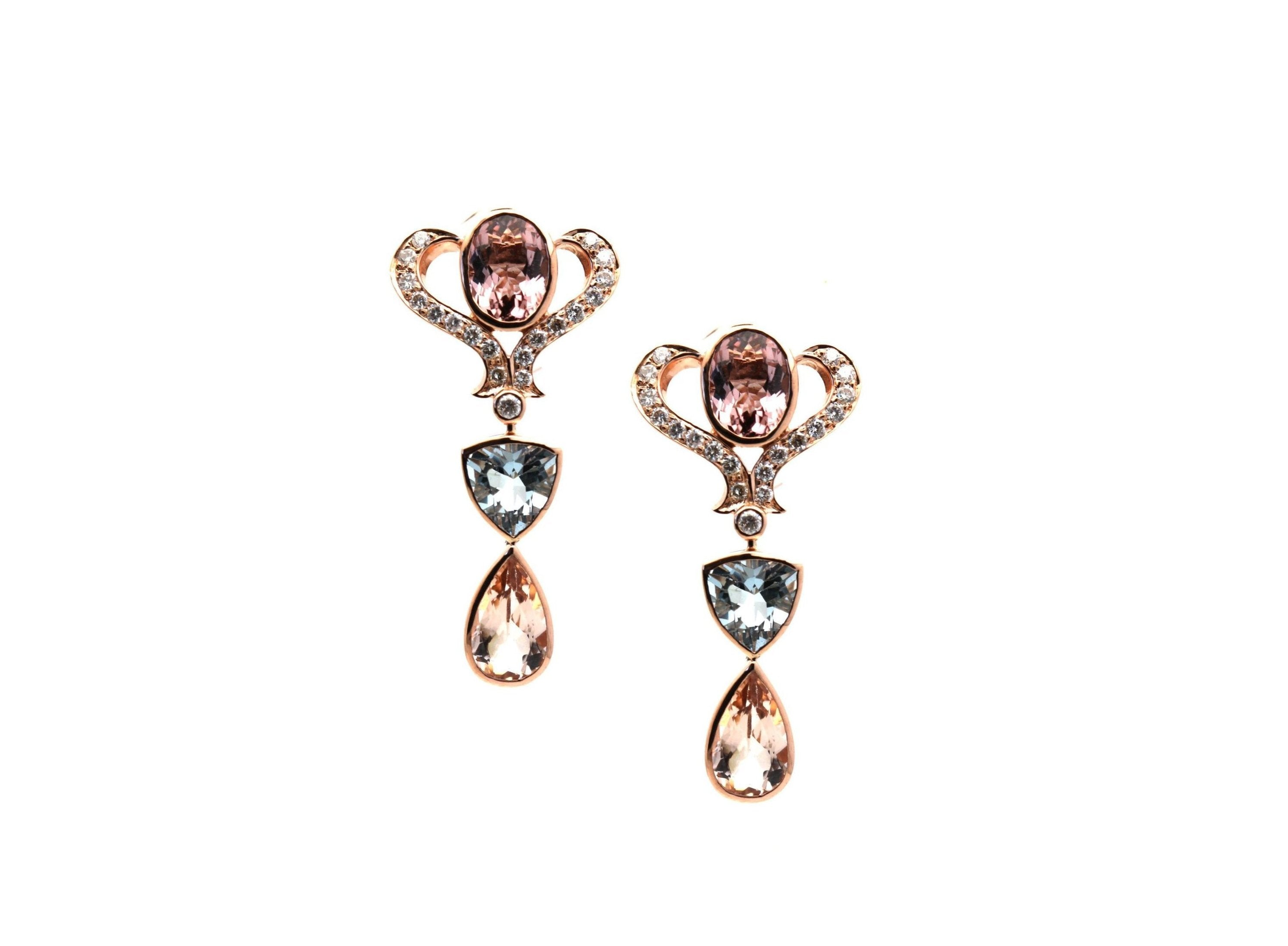 Aquamarine, Morganite & Diamond Earring In 18K Rose Gold