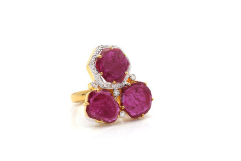 18K Yellow Gold African Ruby and Diamond Ring