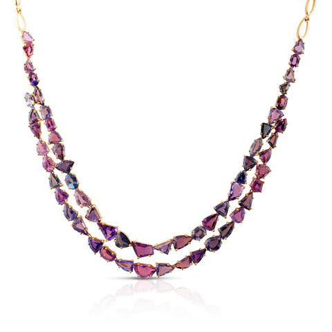 Multicolor Sapphire Necklace in 18k YG