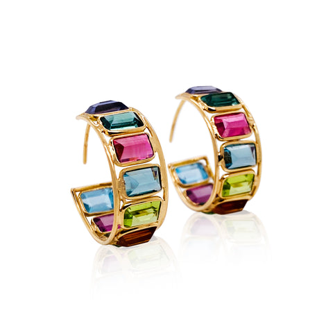 Multicolor Gemstone Hoop Earring In 18K Yellow Gold