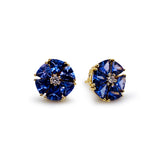 Tanzanite Tri. & Diamond Stud Earring In 18K Yellw Gold