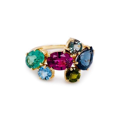 Multicolor Gemstone Bouquet Ring in 18k Yellow Gold