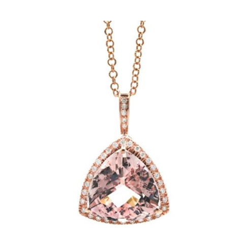 Morganite Trillion Diamond Pendant in 18K Rose Gold