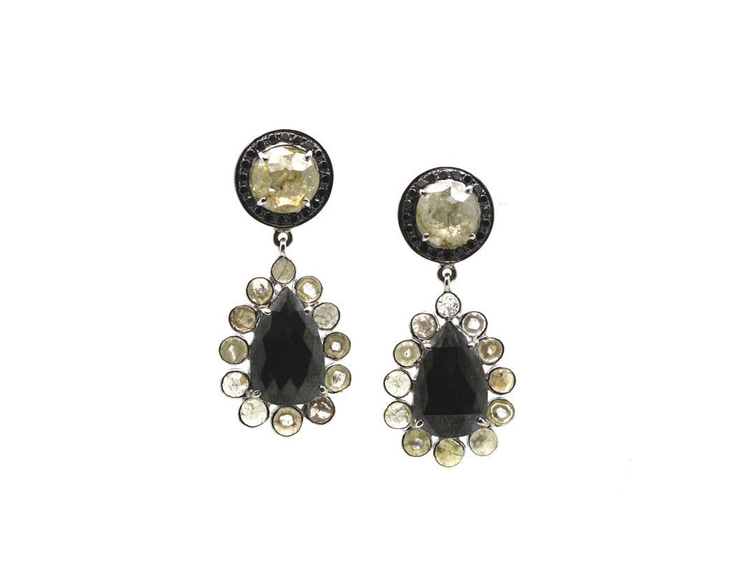 Black & Brown Diamonds Earring in 18K White Gold
