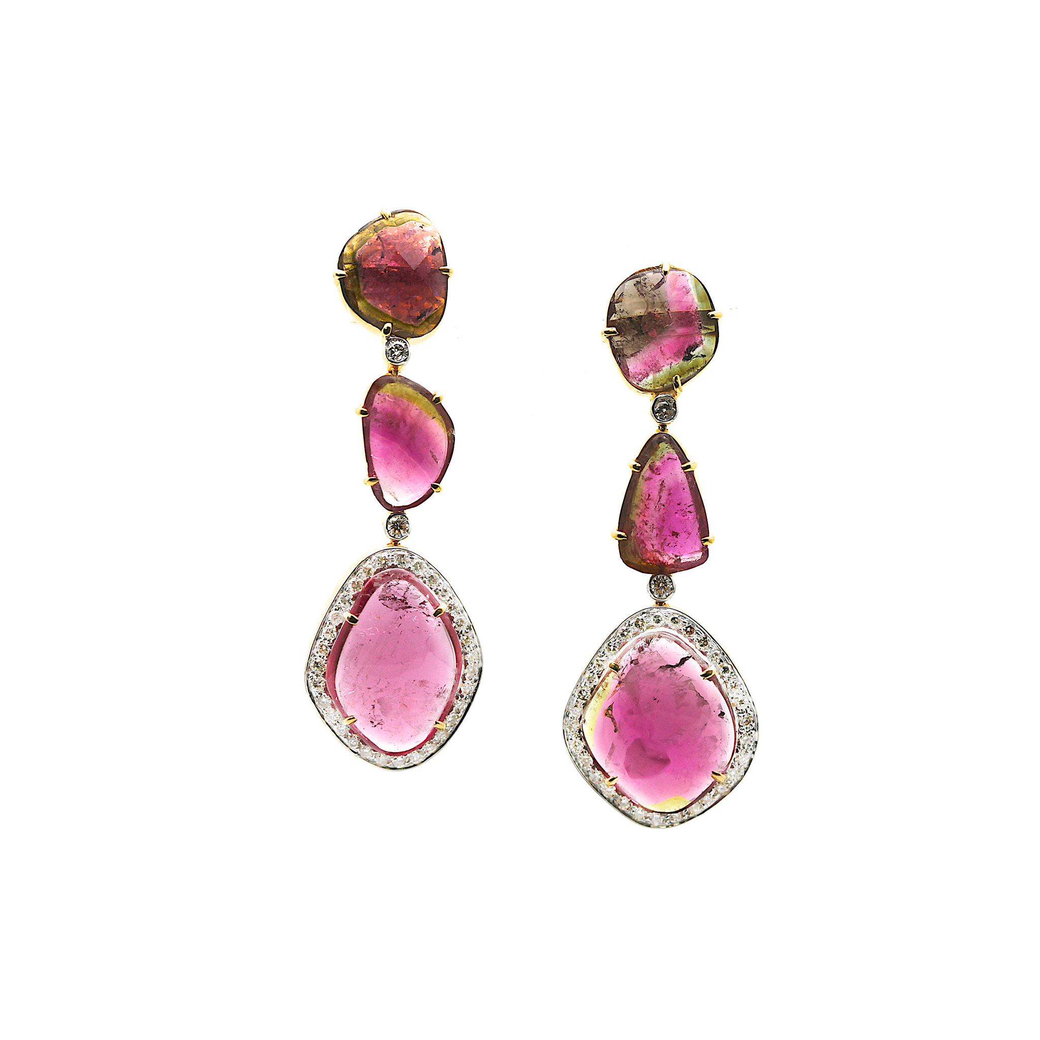Bio Color Tourmaline & Diamond Earring in 18K Yellow Gold