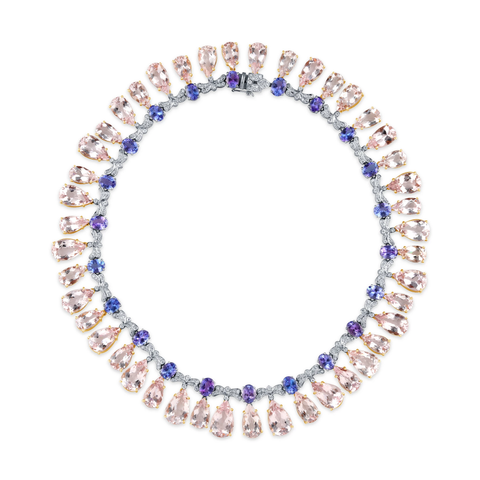 Tanzanite, Morganite & Diamond Queens Necklace in 18k White and Rose Gold