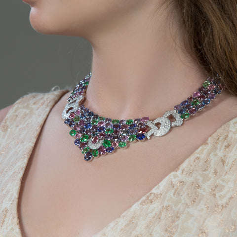 Multicolor Spinal, Tanzanite, Tsavorite Garnet and Diamond Necklace in 18k White Gold