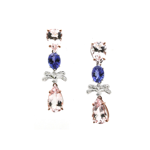 Tanzanite, Morganite and Diamond Earrings in 18k WG