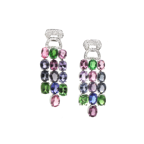 Multicolor Spinal, Tanzanite, Tsavorite Garnet and Diamond Earrings in 18k White Gold