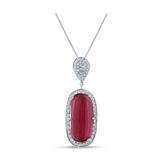 Green, Pink Tourmaline and Diamond Pendant In 18K White Gold