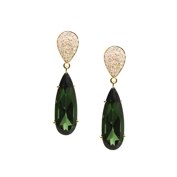 Green Tourmaline & Diamond Earrings In 18k Yellow Gold