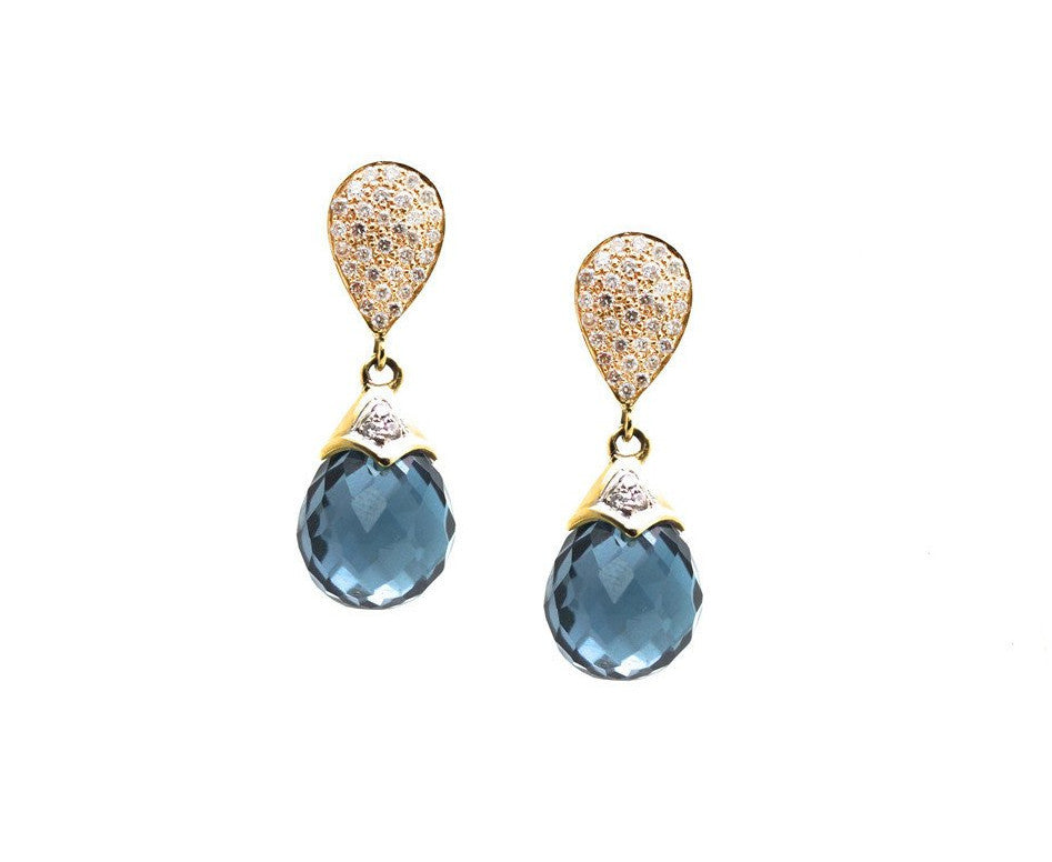 London Blue Topaz Briolette & Diamond Pave Top Earring In 18K Yellow Gold