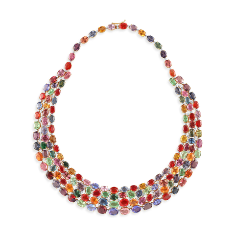 Multicolor Spinel, Tsavorite Garnet, Mandarine Garnet, Tanzanite, Tourmaline and Diamond necklace set in 18k Yellow Gold