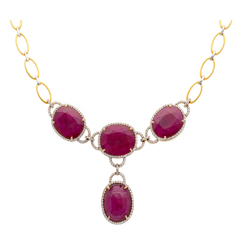 Natural Heated Mozambique Ruby & Diamond Necklace in 18K Yellow Gold