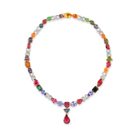 Multicolor Tourmaline, Tsavorite Garnet, Mandarine Garnet, Tanzanite and Diamond Necklace in 18kt Yellow Gold