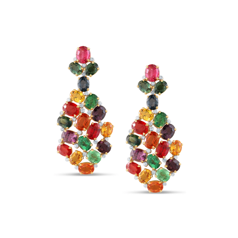 Multicolor Spinel, Tsavorite Garnet, Mandarine Garnet, Tanzanite, Tourmaline and Diamond Earrings set in 18k Yellow Gold