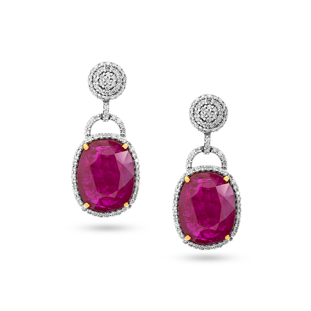 Natural Heated Mozambique Ruby & Diamond Earrings in 18K Yellow Gold