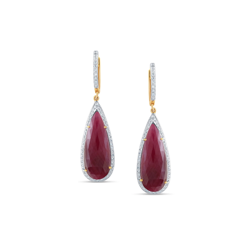 Natural No Heat Madagascar Ruby And Diamond Earrings In 18K Yellow Gold
