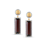 Garnet & Diamond Lente Earring In 18K Yellow Gold