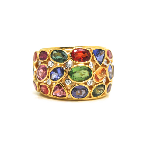 Multi Color Spinel, Mandarine Garnet, Tanzanite, Tourmaline and Diamonds Ring in 18k Yellow Gold