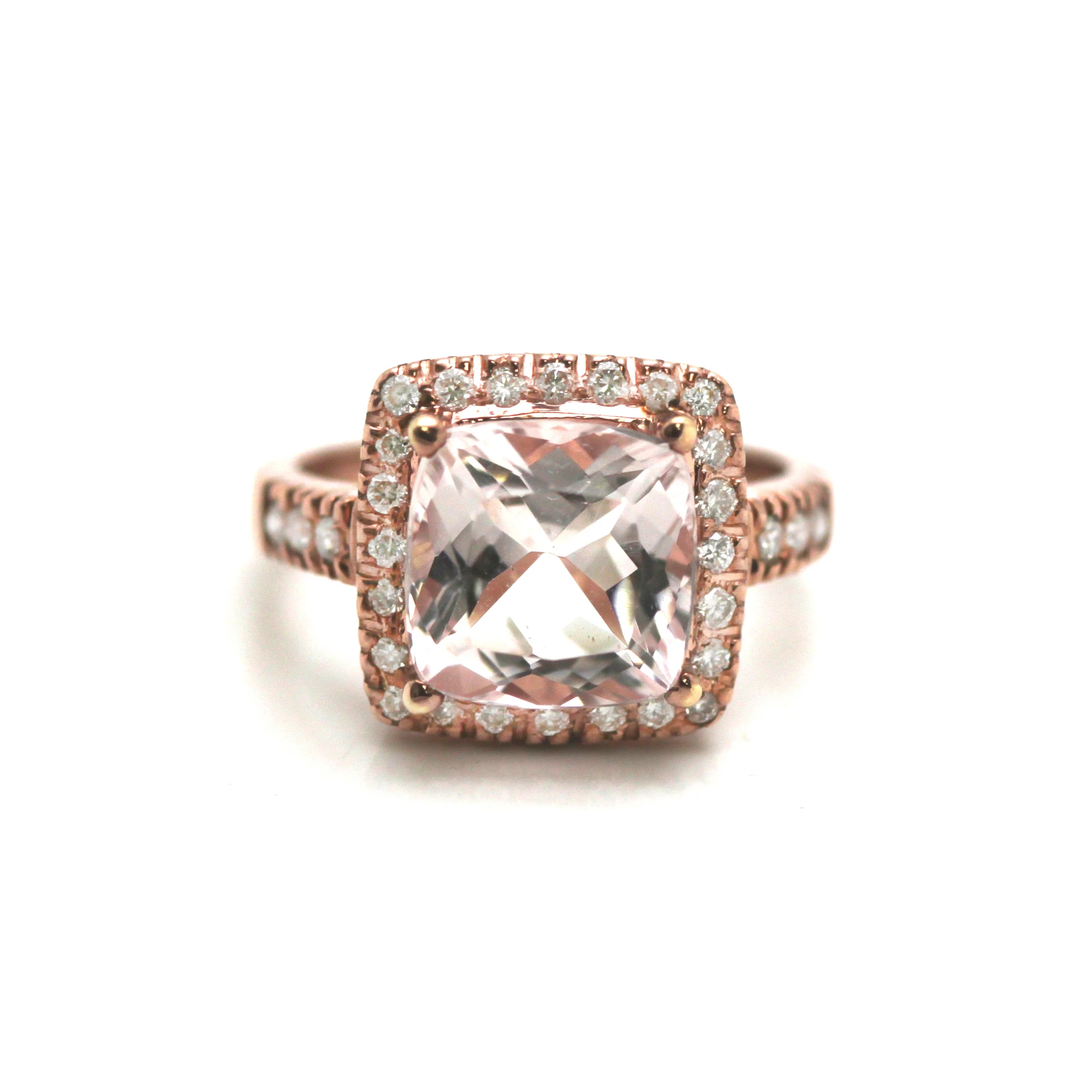 18K Rose Gold, Morganite, and Diamond Square Cushion Ring