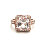 Morganite and Diamond Square Cushion Ring in 18k Rose Gold