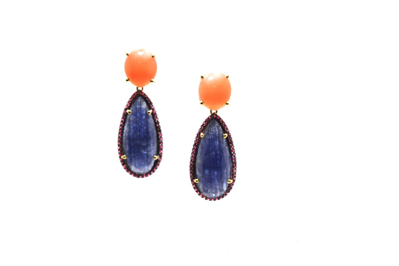 Orange Moonstone, Blue Sapphire & Ruby Earring in 18K Yellow Gold