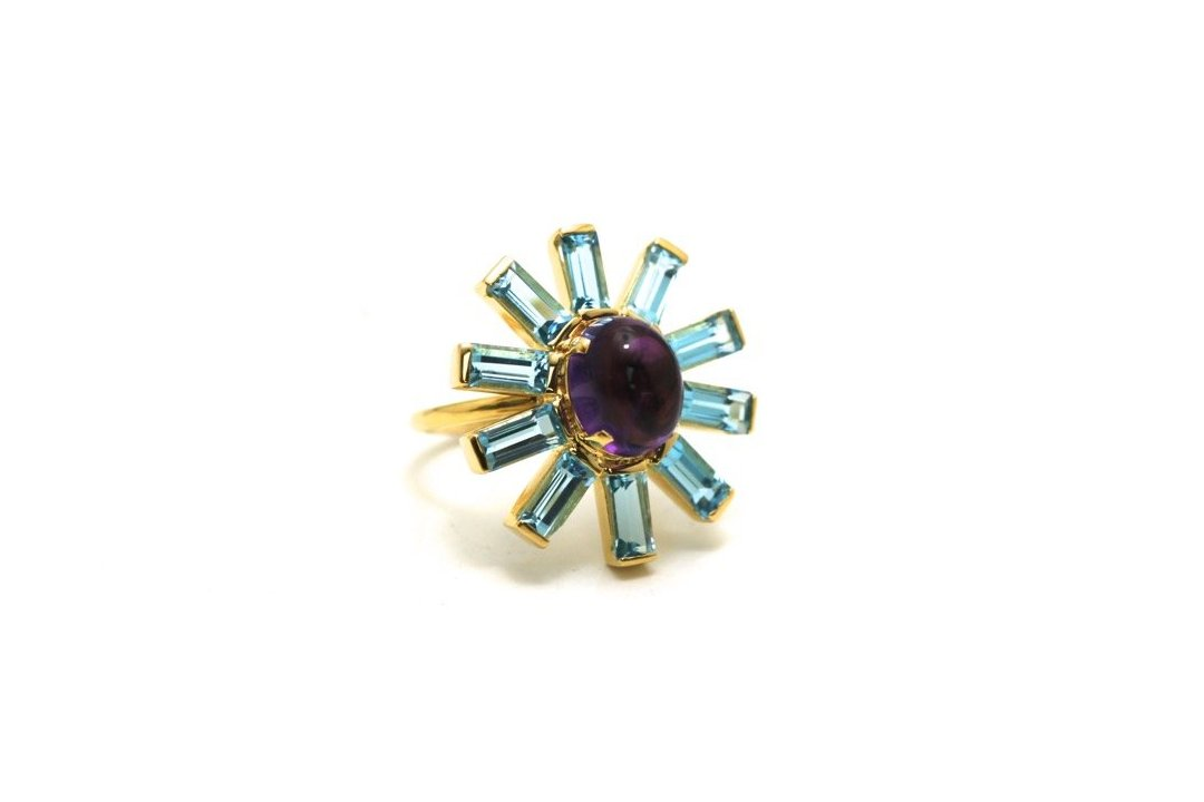 Amethyst Oval & Sky Blue Topaz Square Ring In 18K Yellow Gold
