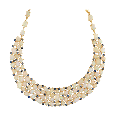 Ethiopian Opal and Blue Sapphire Necklace In 18K Yellow Gold