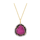 Biocolor Tourmaline Pendant with Diamond Pave all around in 18K Yellow Gold