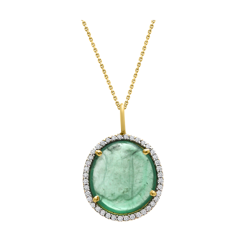Emerald & Diamond Pendant in 18K Yellow Gold