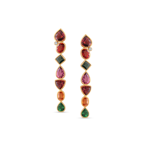 18K Yellow Gold Earring with Multicolor Tourmaline, Tsavorite Garnet, Mandrian Garnet and Diamond